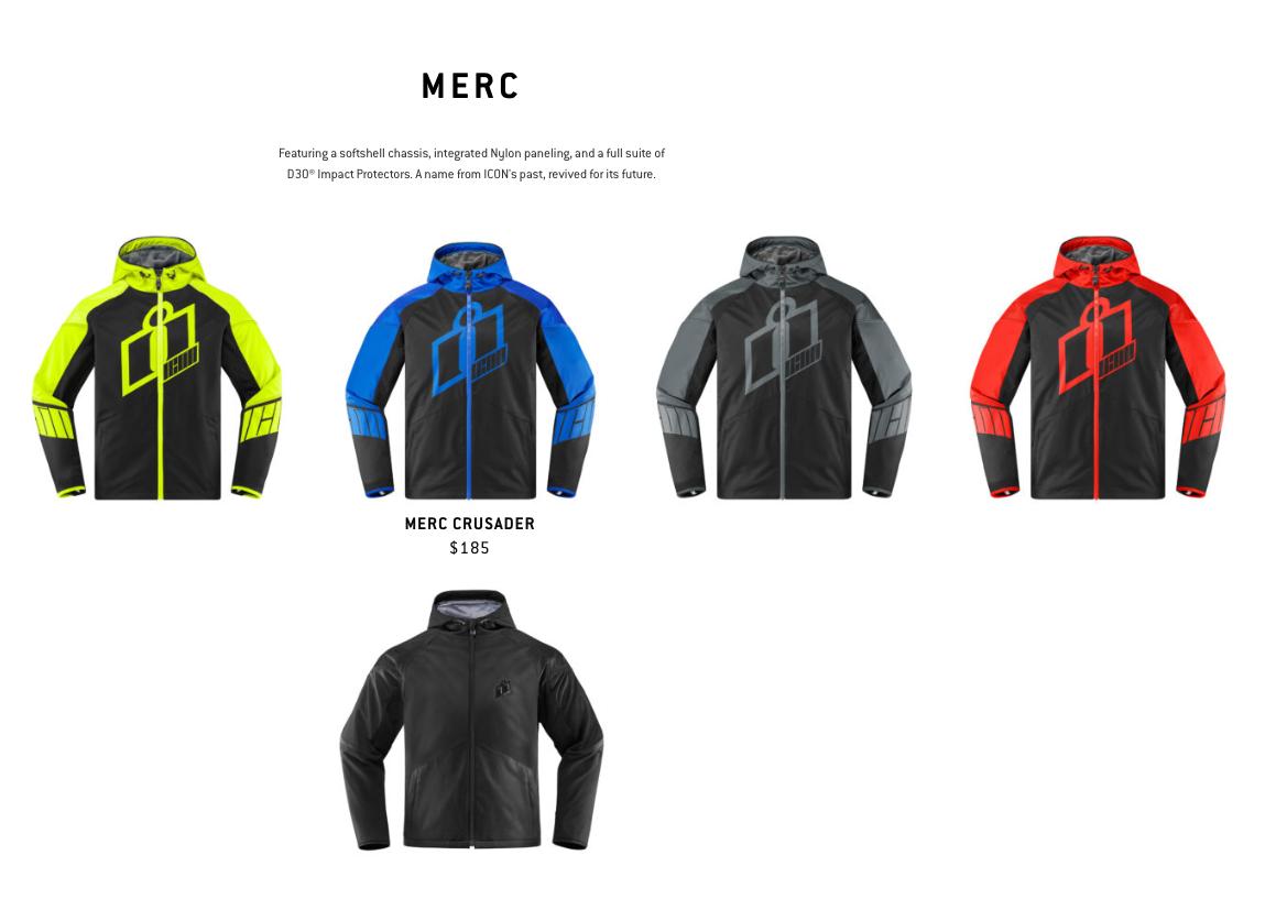Icon Merc, MC Herre jakke, flere farver, med beskyttelse
