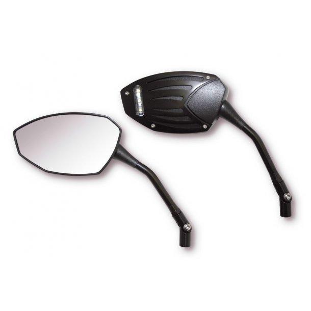Black Wing spejlsæt med LED positionslys til kåbe
